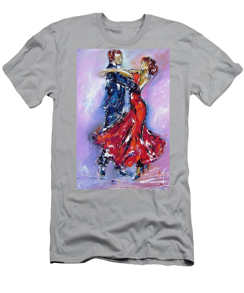 Dancers Men's T-Shirt (Athletic Fit) featuring the painting Anniversary Dance Painting by Mary Cahalan Lee- aka PIXI