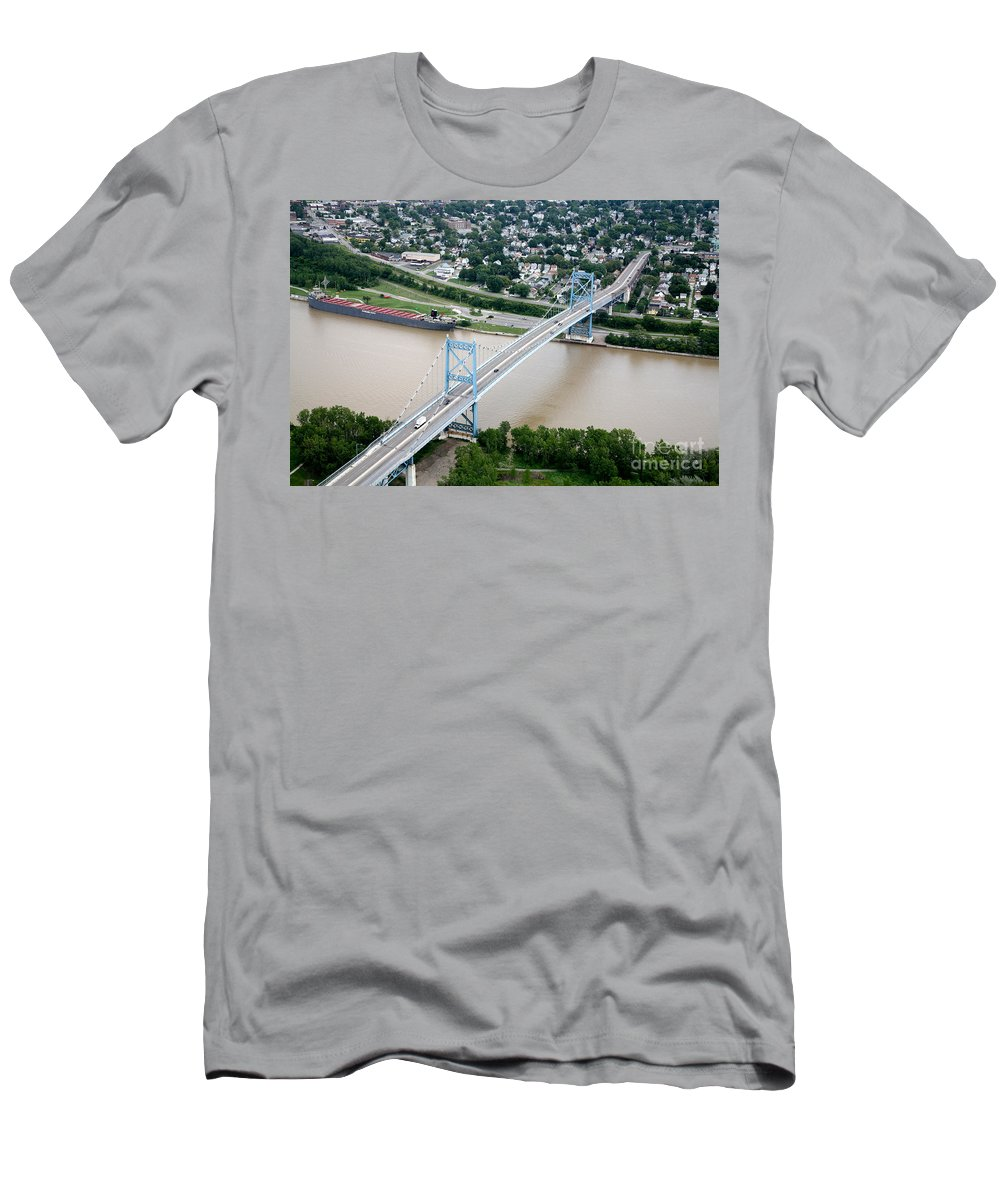Aerial Men's T-Shirt (Athletic Fit) featuring the photograph Anthony Wayne Bridge Toledo Ohio by Bill Cobb
