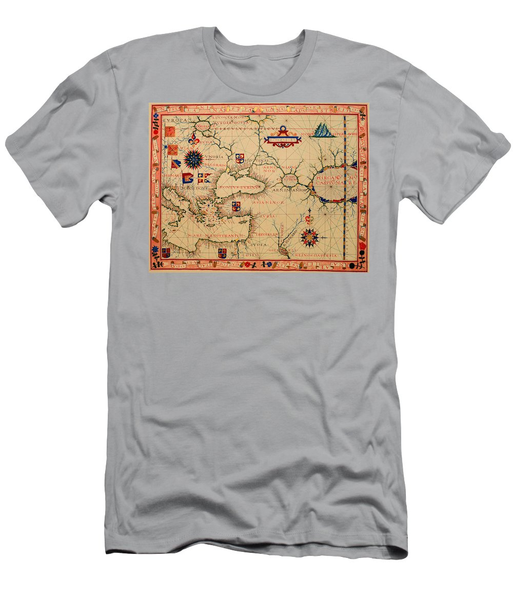 Map Men's T-Shirt (Athletic Fit) featuring the drawing Antique Nautical Chart 1570 by Mountain Dreams