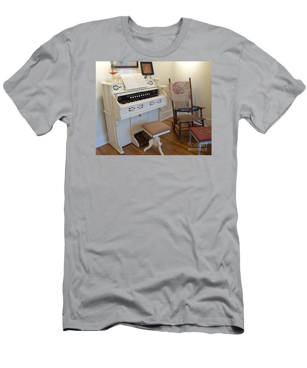 Organ Men's T-Shirt (Athletic Fit) featuring the photograph Antique Parlor Organ by Ann Horn