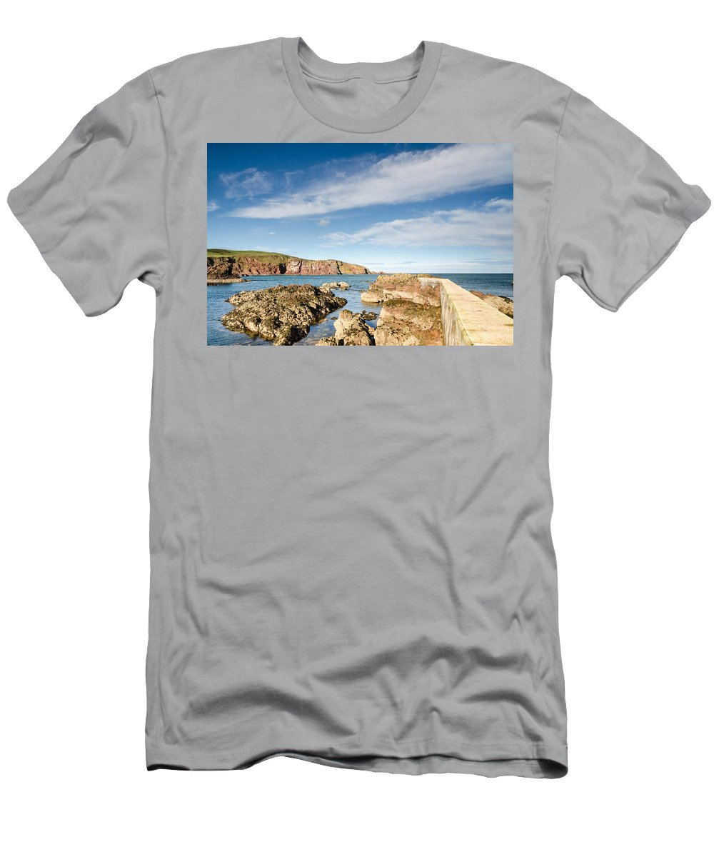 Bay Men's T-Shirt (Athletic Fit) featuring the photograph Approach To St Abbs Harbour by David Head