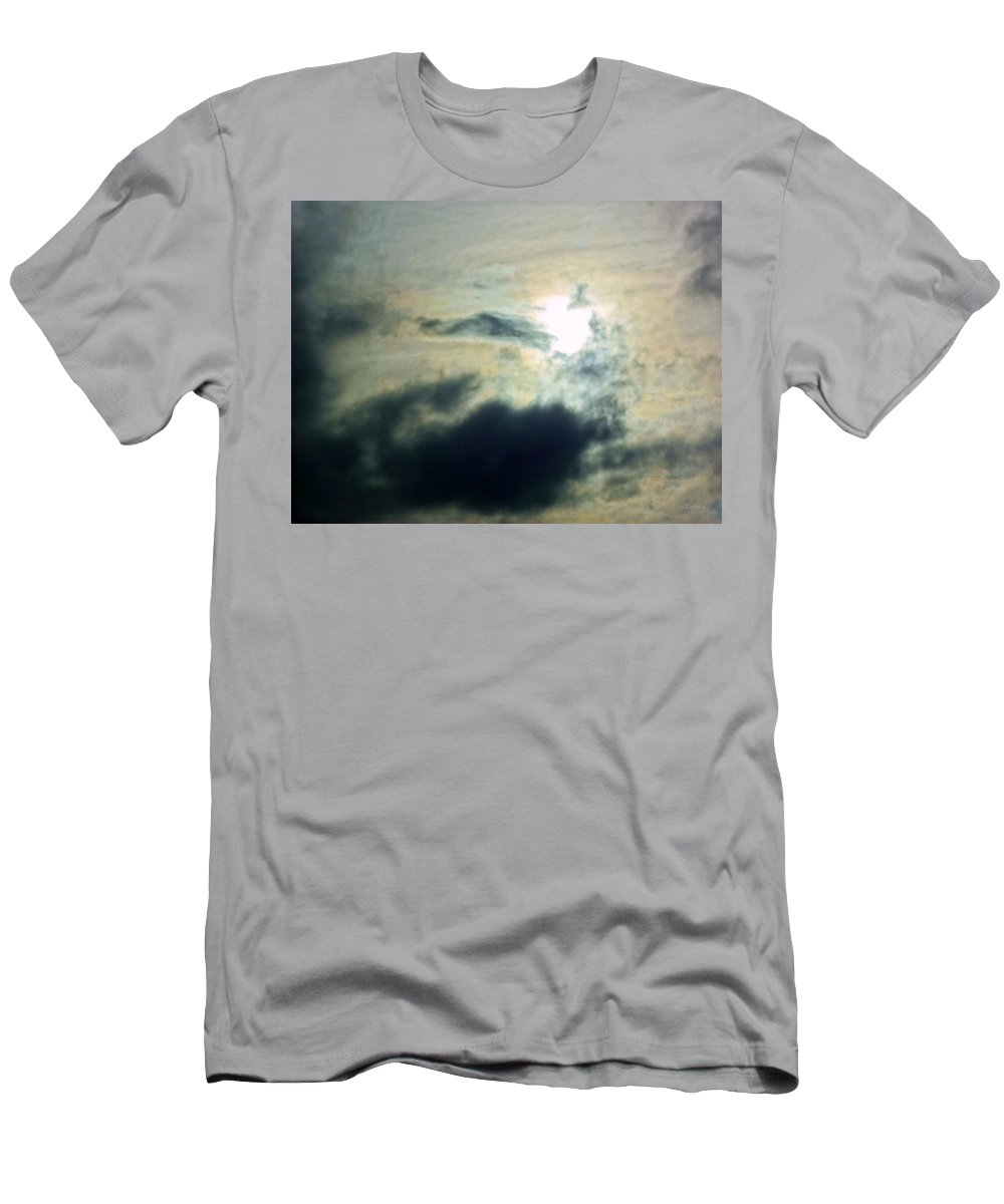 Clouds Men's T-Shirt (Athletic Fit) featuring the photograph Approaching The Moon by Deborah Crew-Johnson