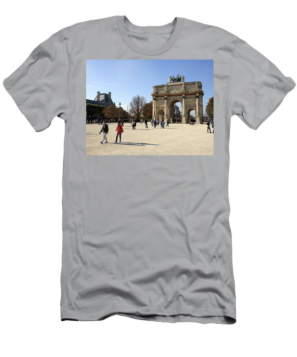 Paris Men's T-Shirt (Athletic Fit) featuring the photograph Arc De Triomphe Du Carrousel In Paris France by Richard Rosenshein