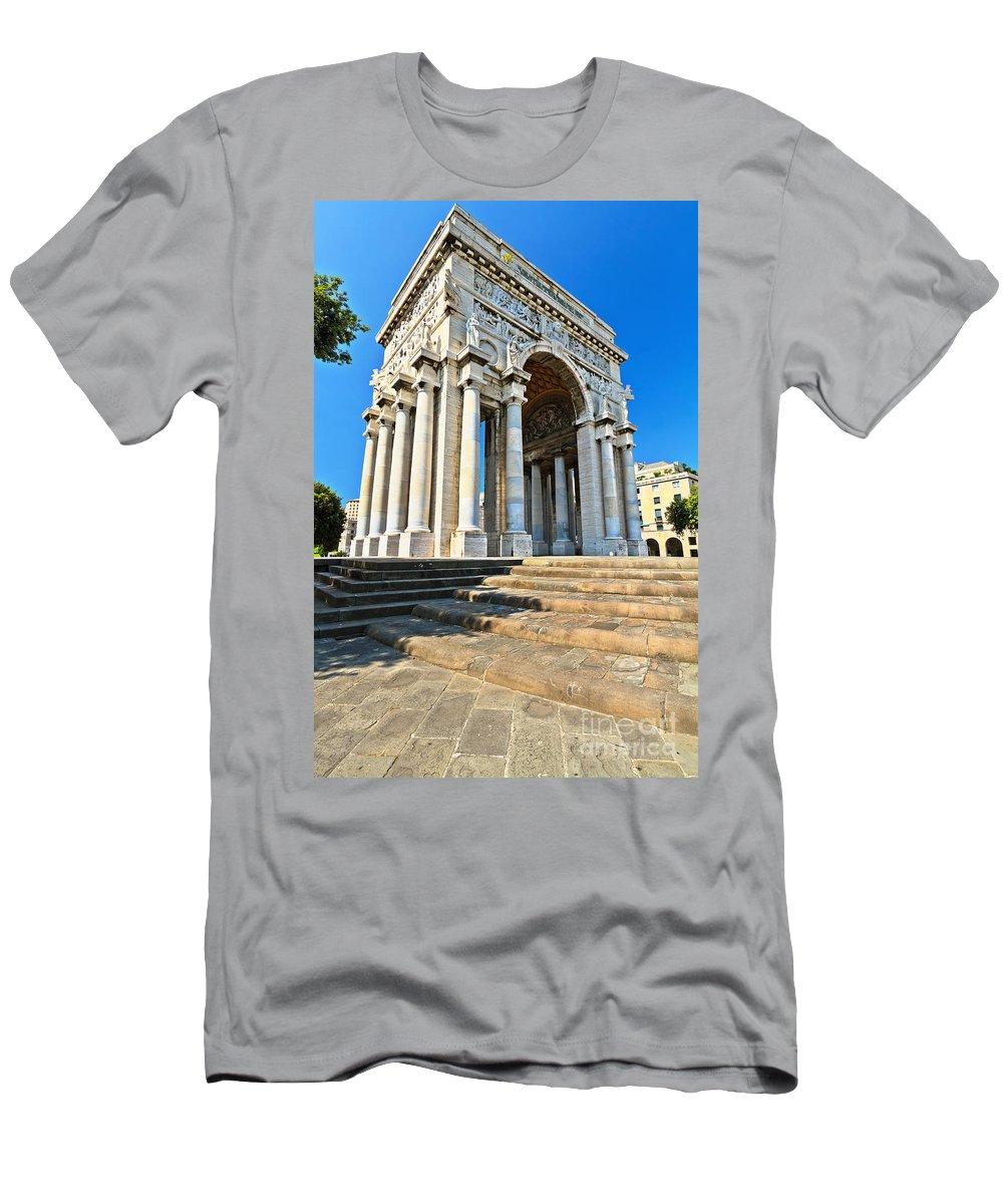 Memorial Men's T-Shirt (Athletic Fit) featuring the photograph arc of triumph in Piazza Della Vittoria - Genova by Antonio Scarpi