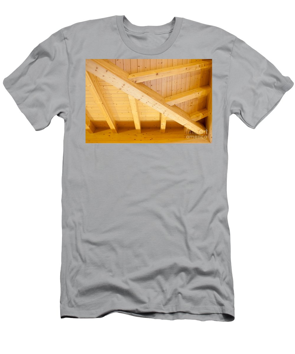 Angled Men's T-Shirt (Athletic Fit) featuring the photograph Architectural Detail Of An Indoor Wooden Ceiling by Stephan Pietzko