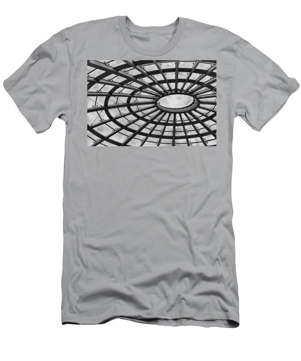 Ceiling Men's T-Shirt (Athletic Fit) featuring the photograph Architecture Ceiling In Black And White by Leah Palmer