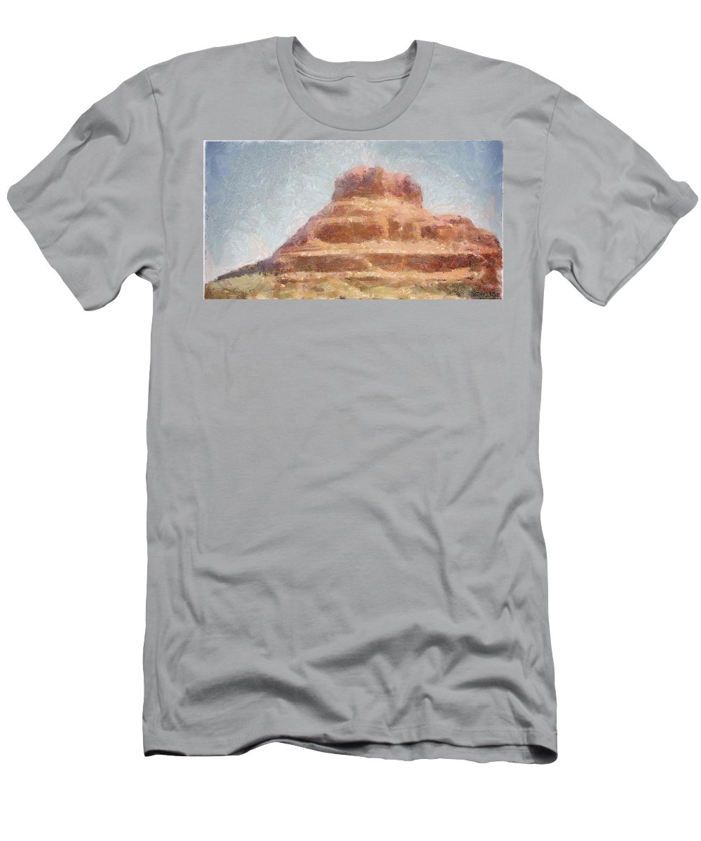 United States Of America Men's T-Shirt (Athletic Fit) featuring the painting Arizona Mesa by Jeffrey Kolker