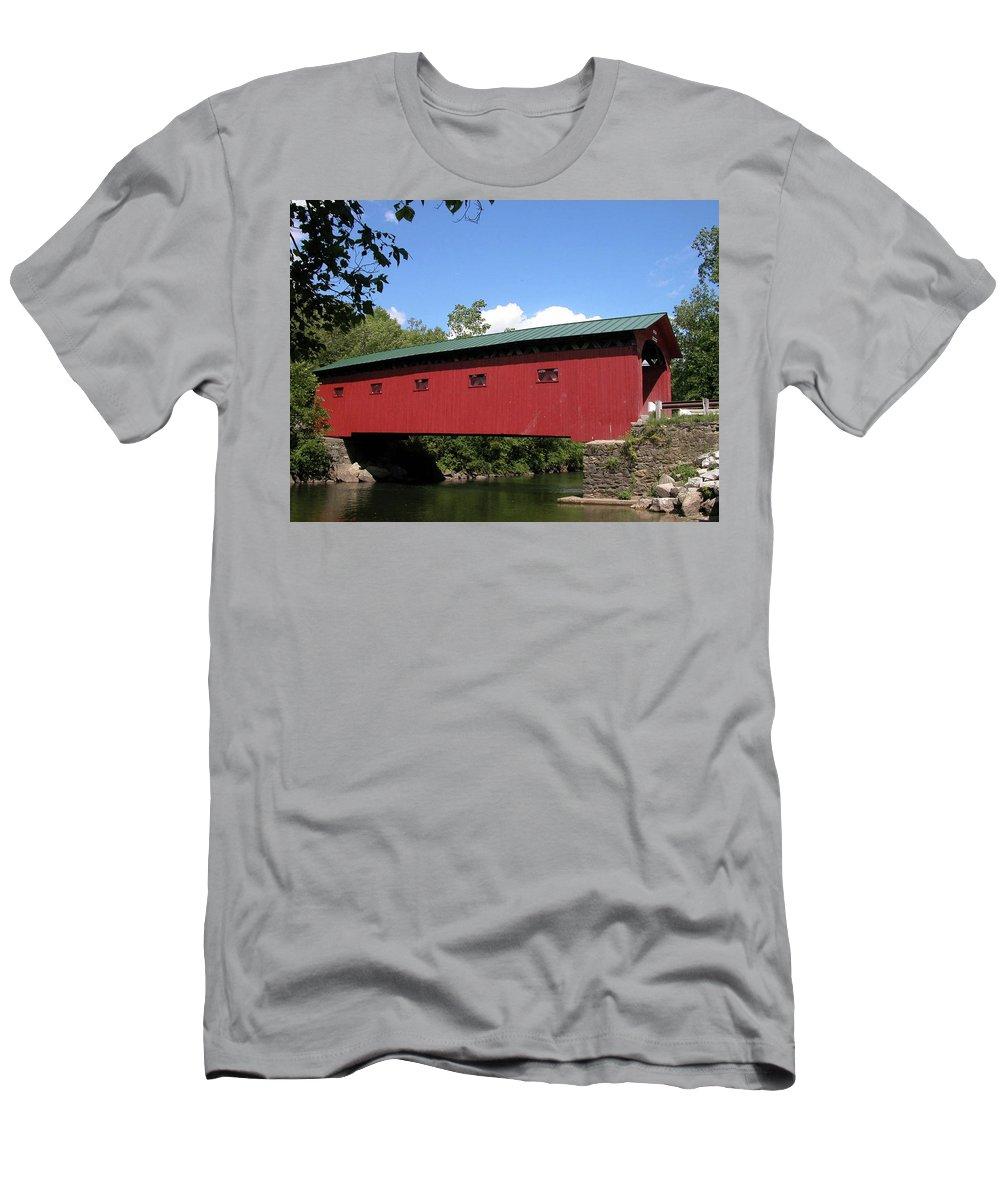 Covered Bridge Men's T-Shirt (Athletic Fit) featuring the photograph Arlington Bridge 2526a by Guy Whiteley