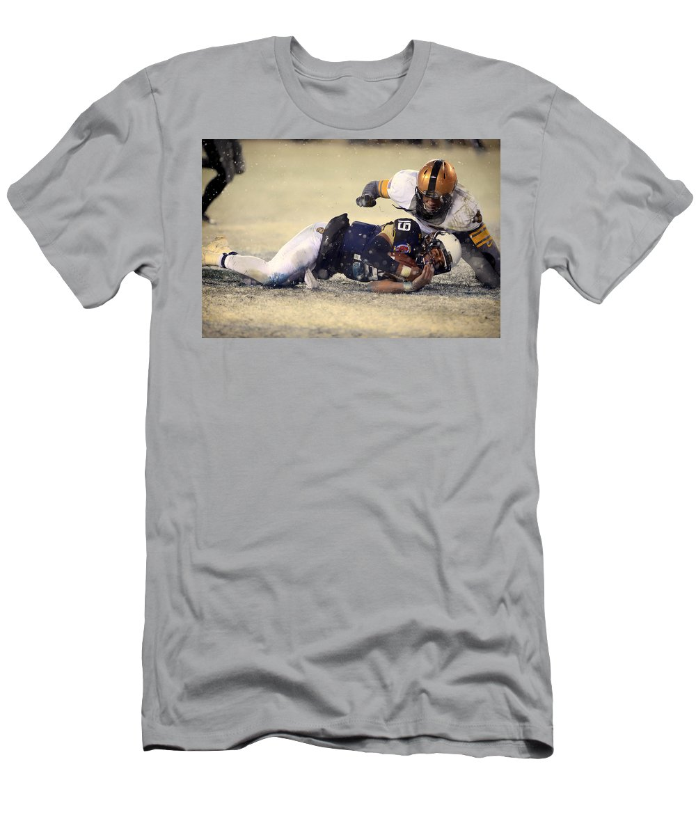 Army Men's T-Shirt (Athletic Fit) featuring the photograph Army Versus Navy In The Snow 2013 by Mountain Dreams