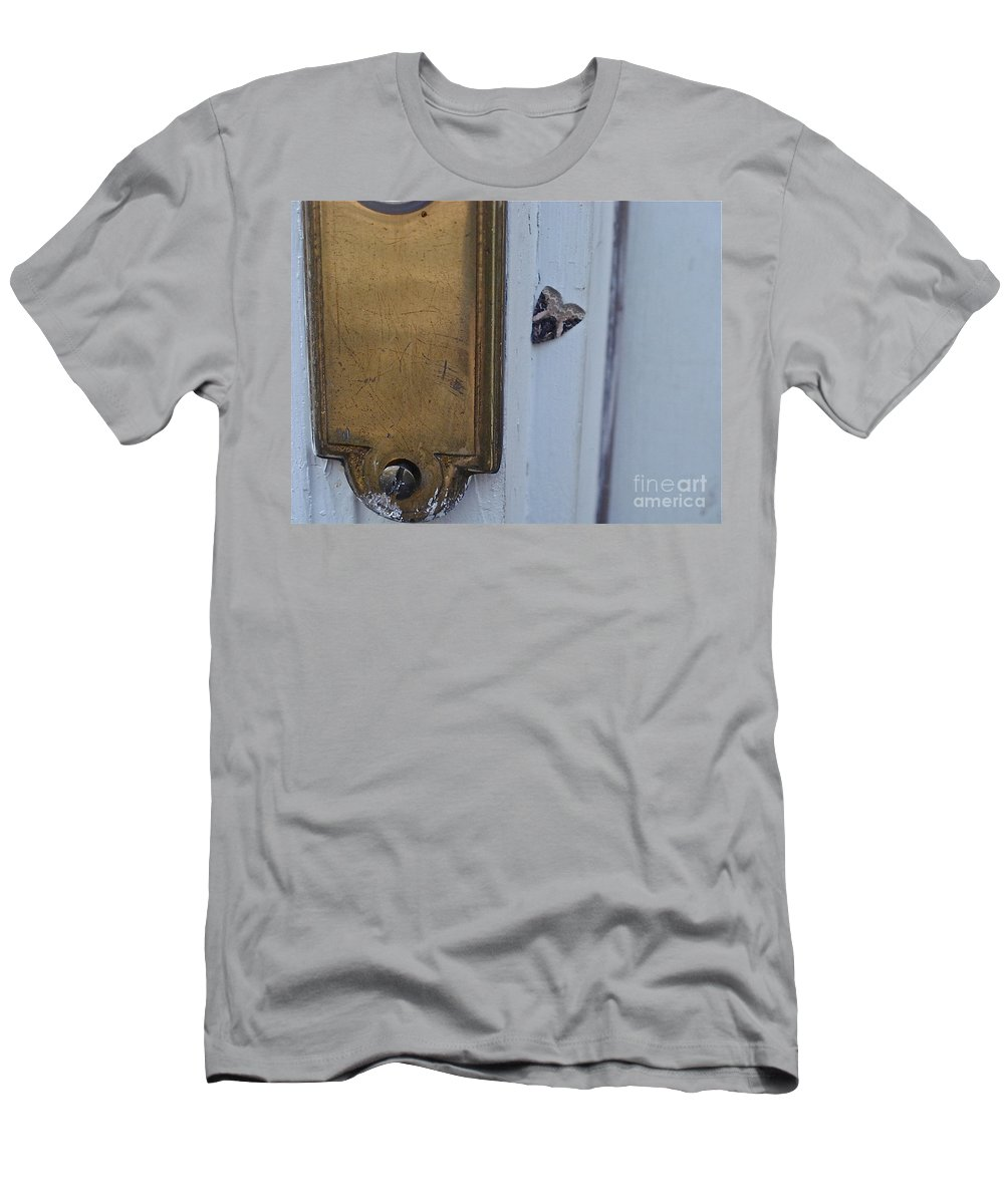 Insects Men's T-Shirt (Athletic Fit) featuring the photograph Arrowhead Doorbell Moth by Christopher Plummer