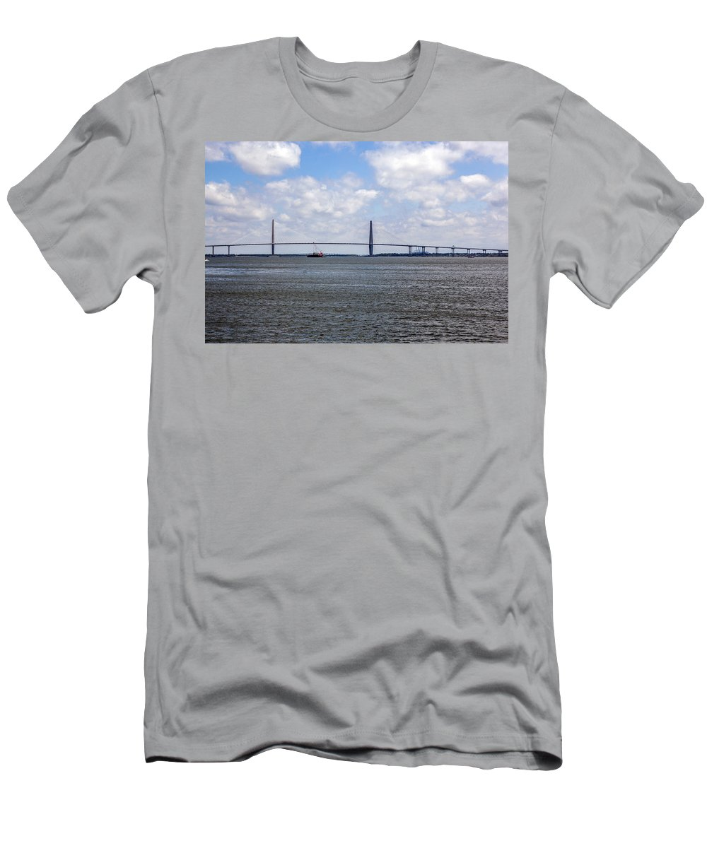 Cooper River Men's T-Shirt (Athletic Fit) featuring the photograph Arthur Ravenel Bridge by Sennie Pierson