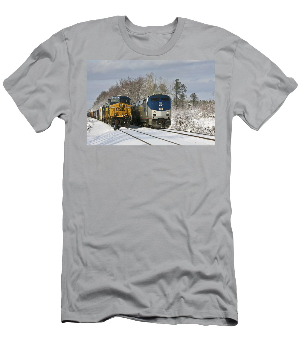 Ashland Men's T-Shirt (Athletic Fit) featuring the photograph Ashland Trains In The Snow by Cliff Middlebrook