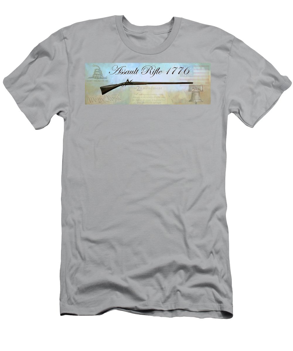 Rifle Men's T-Shirt (Athletic Fit) featuring the painting Assault Rifle by G Cannon