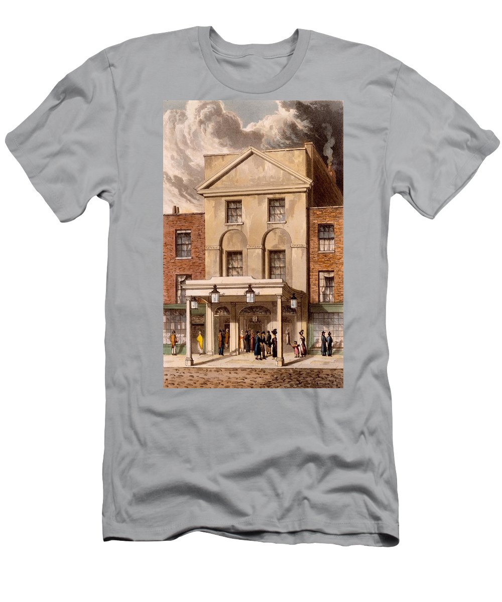 Astleys Amphitheatre Men's T-Shirt (Athletic Fit) featuring the drawing Astleys Amphitheatre, 1826 by Daniel Havell