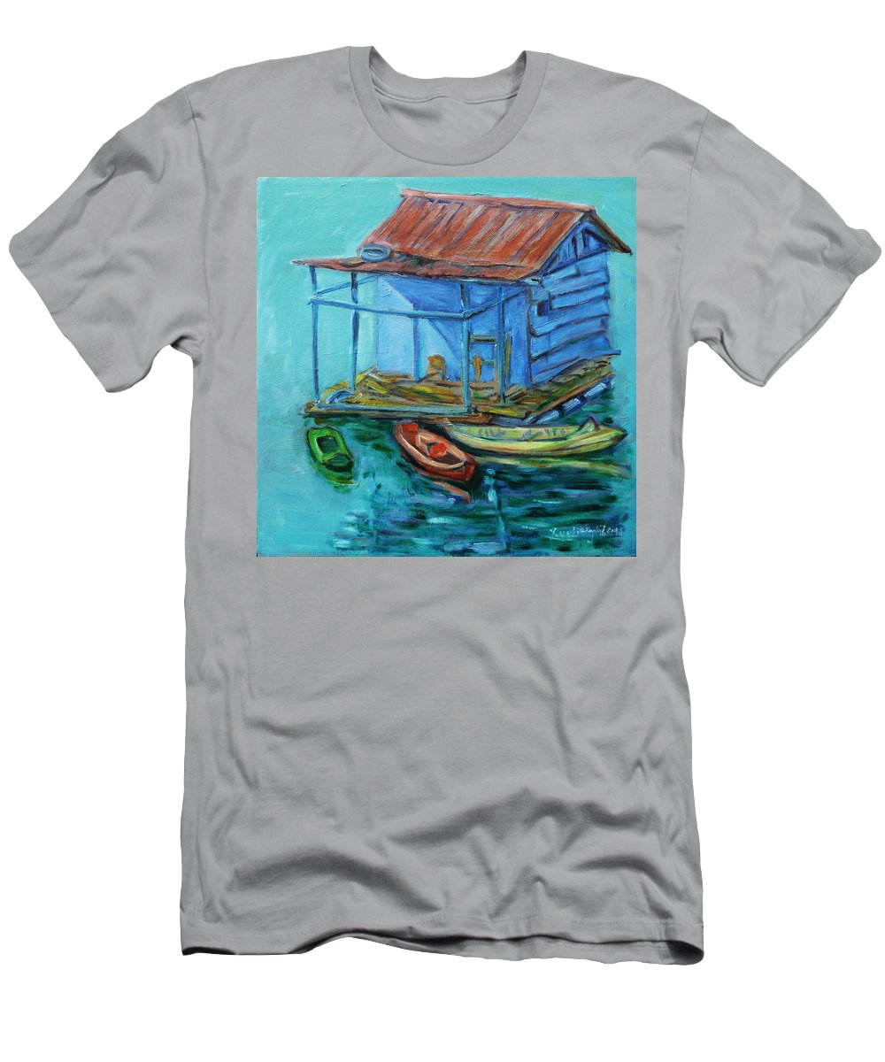 Landscape Men's T-Shirt (Athletic Fit) featuring the painting At Boat House by Xueling Zou