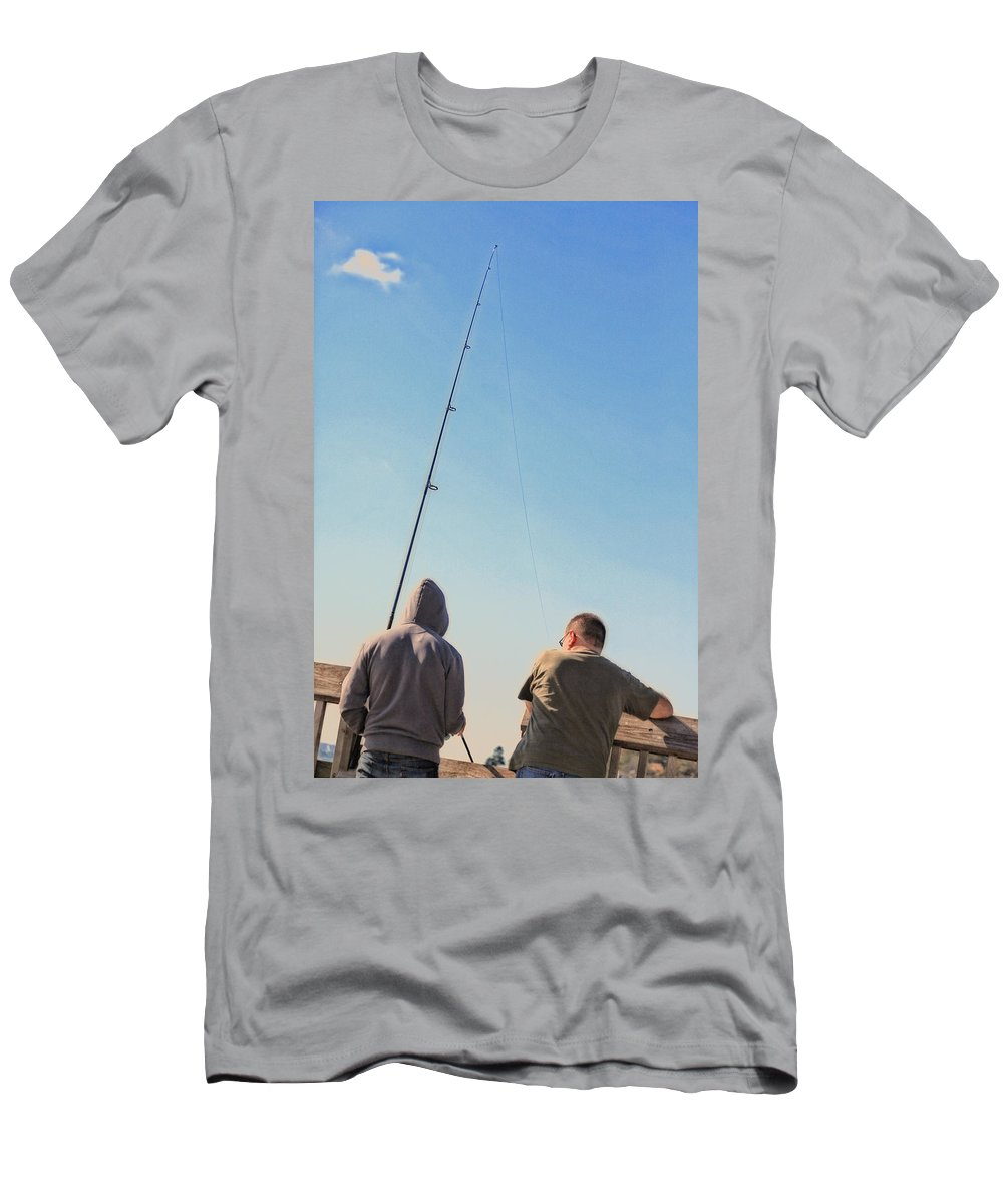 Fishing Men's T-Shirt (Athletic Fit) featuring the photograph At Fishing by Karol Livote