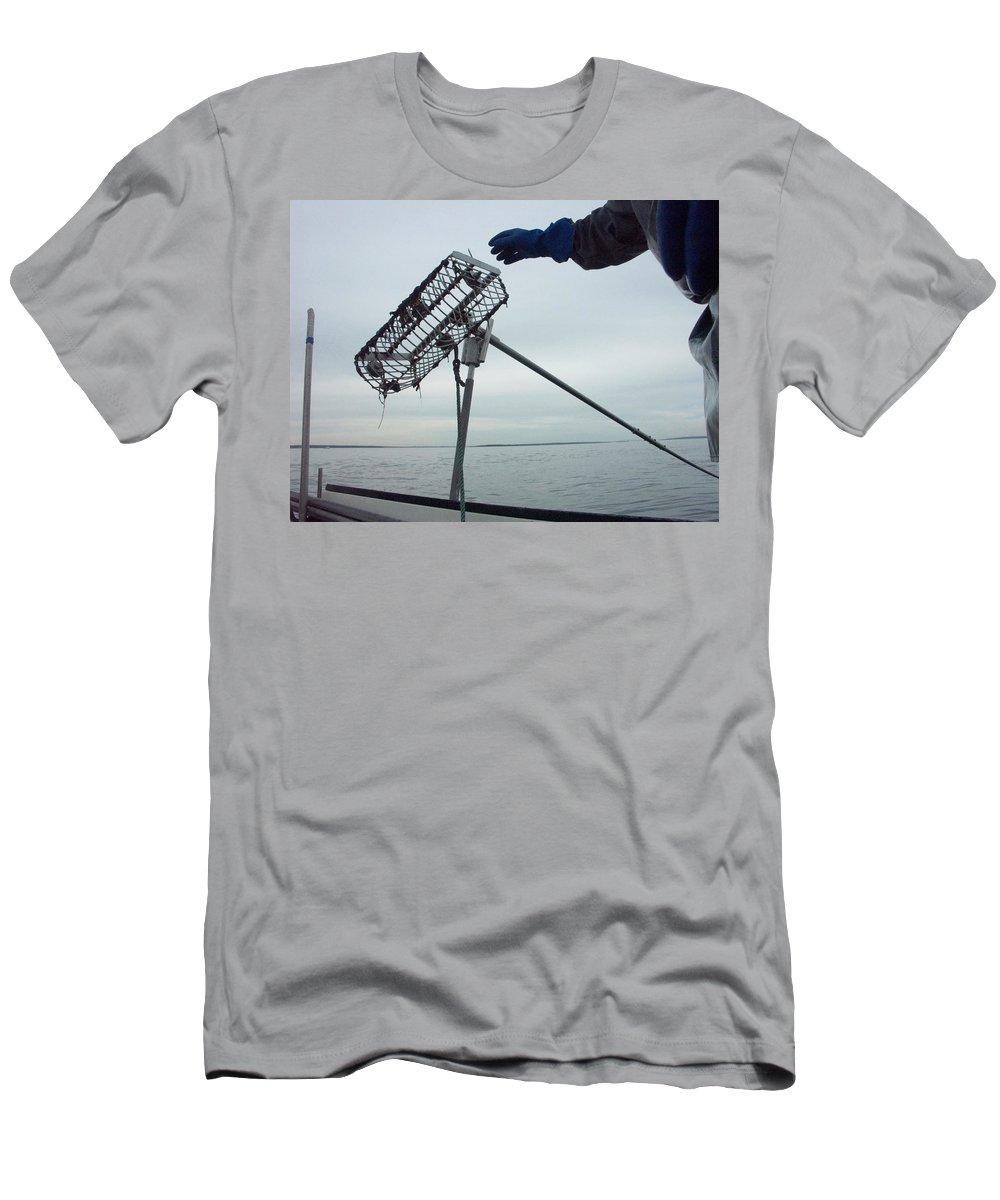 Aquatic Men's T-Shirt (Athletic Fit) featuring the photograph At Sunrise, Quahogger Bill Bergan by David H. Wells