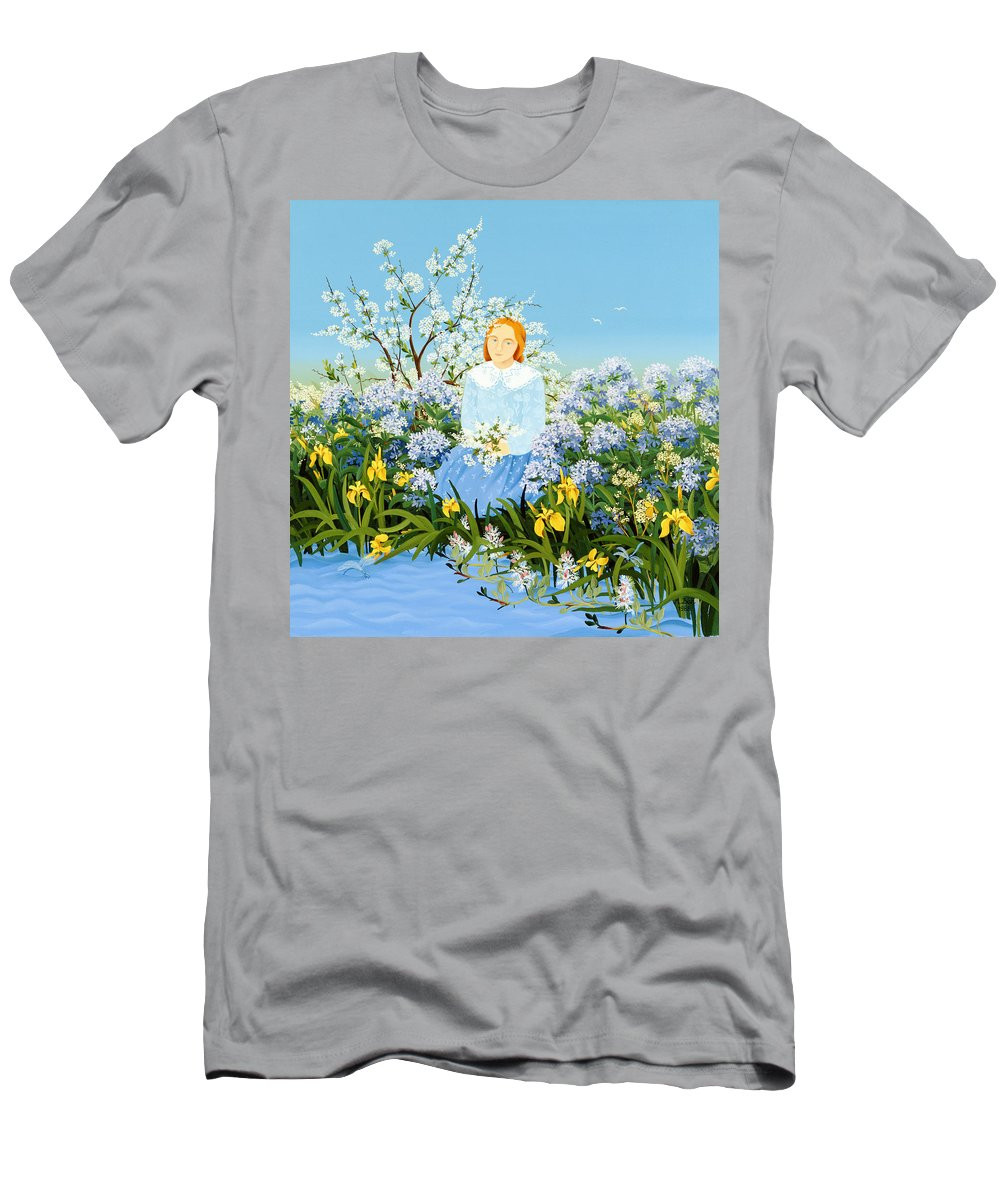Iris; Daisy; Blossom; Cowslip; Girl Men's T-Shirt (Athletic Fit) featuring the painting At The Shore Of Dreams by Magdolna Ban
