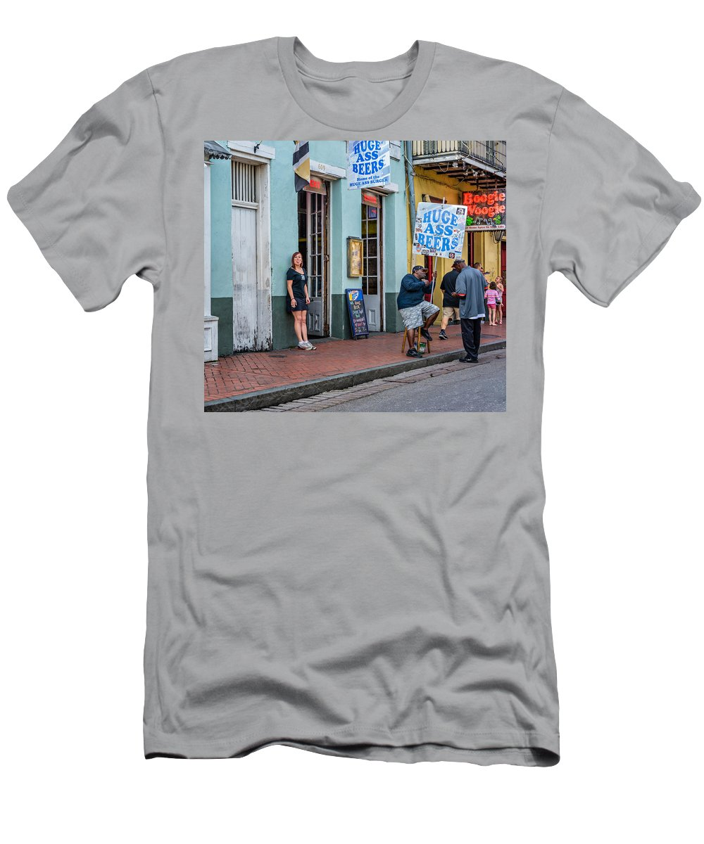 French Quarter Men's T-Shirt (Athletic Fit) featuring the photograph Attitude And Huge Ass Beers by Steve Harrington