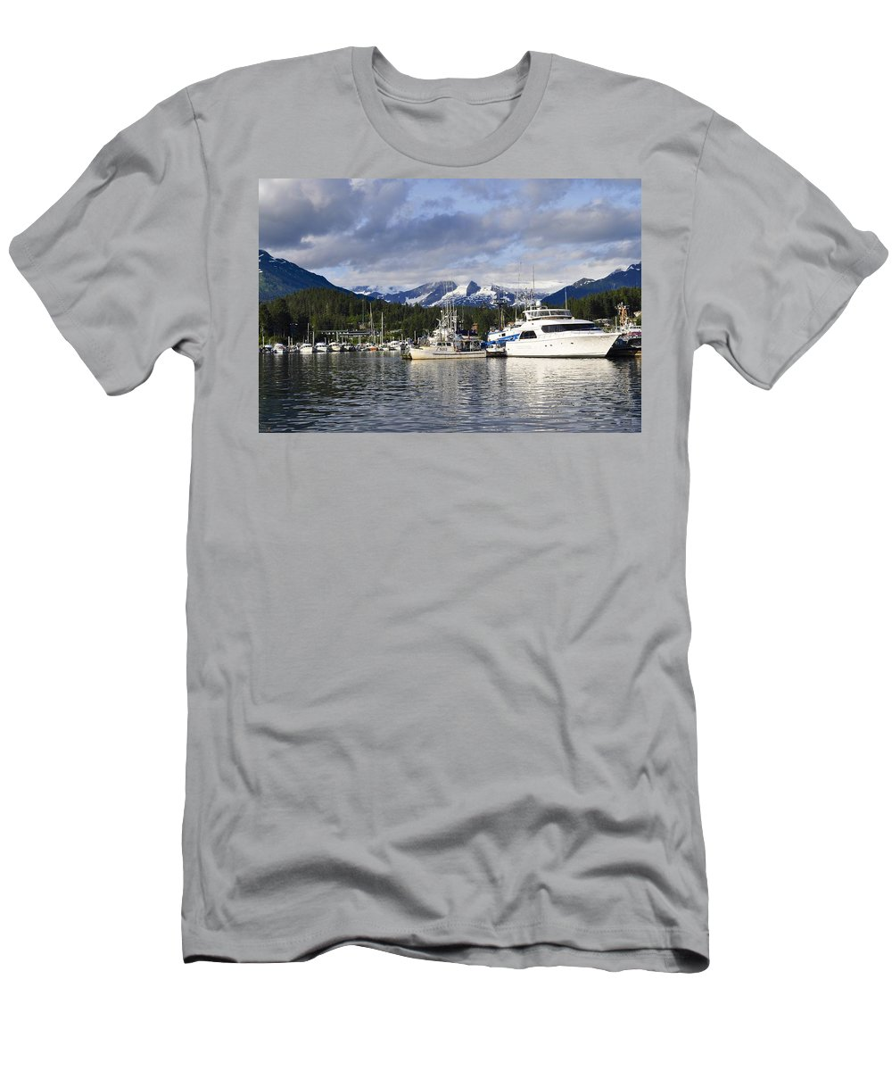 Auke Bay Men's T-Shirt (Athletic Fit) featuring the photograph Auke Bay Harbor by Cathy Mahnke