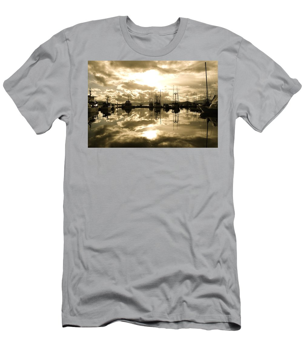 Auke Bay Men's T-Shirt (Athletic Fit) featuring the photograph Auke Bay In Sepia by Cathy Mahnke