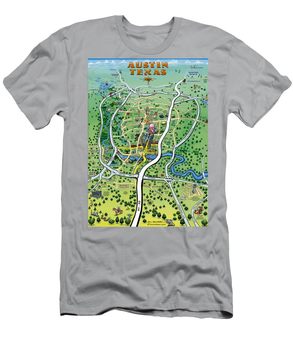 Austin Men's T-Shirt (Athletic Fit) featuring the digital art Austin Tx Cartoon Map by Kevin Middleton