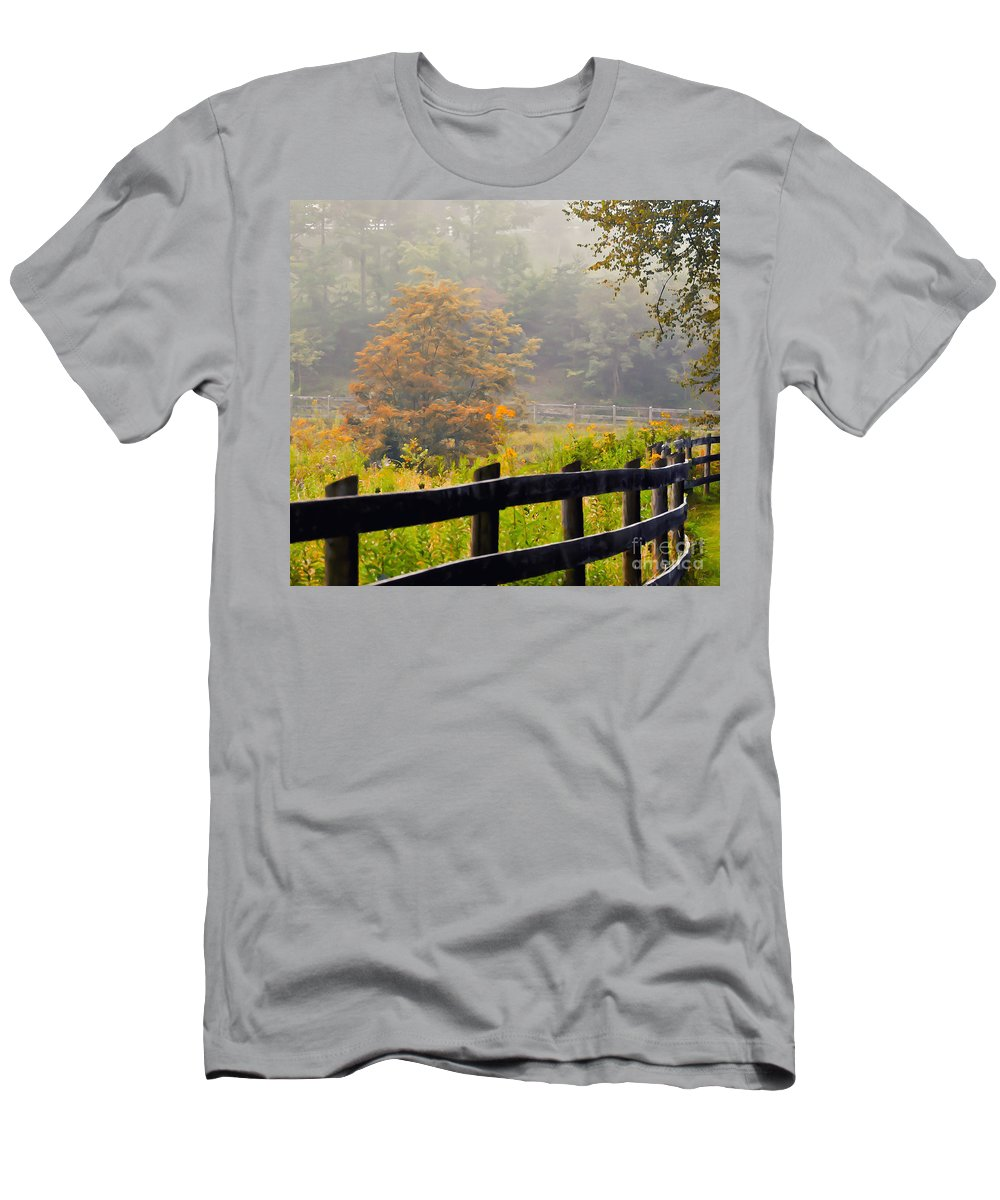 Autumn Men's T-Shirt (Athletic Fit) featuring the photograph Autumn Along The Fence by Kerri Farley