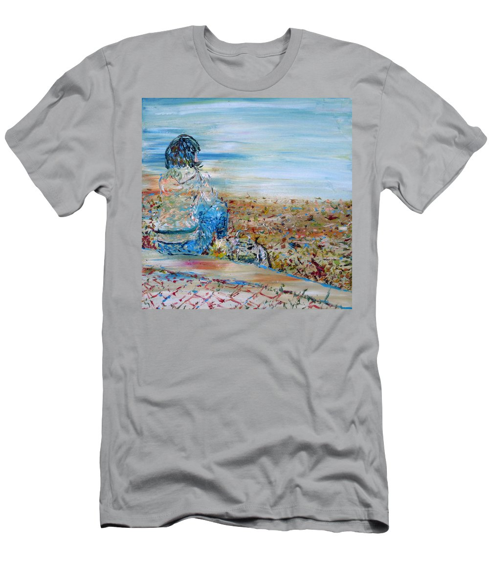 Girl Men's T-Shirt (Athletic Fit) featuring the painting Autumn - Girl At The Lake by Fabrizio Cassetta
