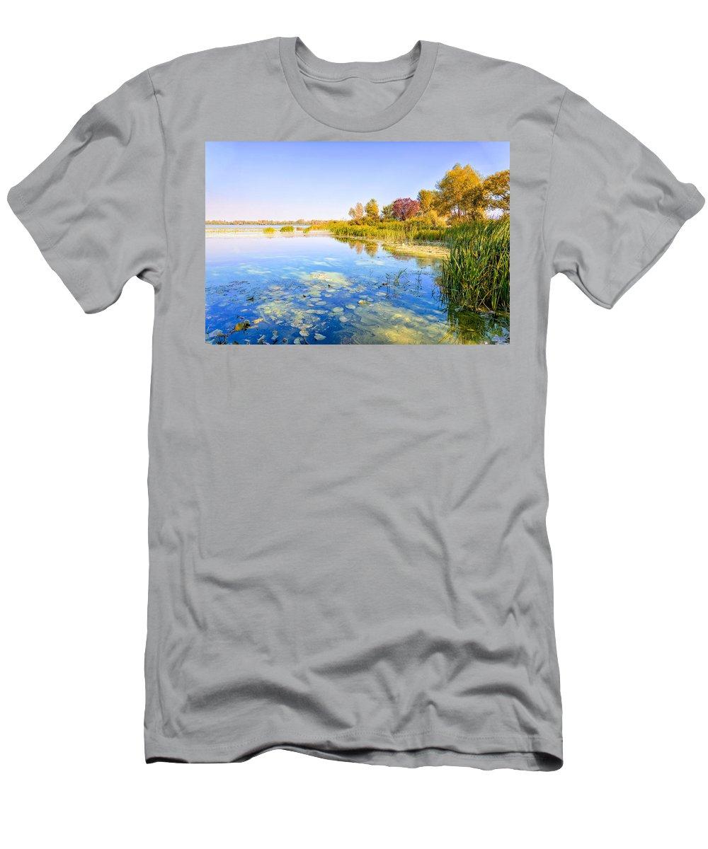 Dnieper Men's T-Shirt (Athletic Fit) featuring the photograph Autumn River by Alain De Maximy