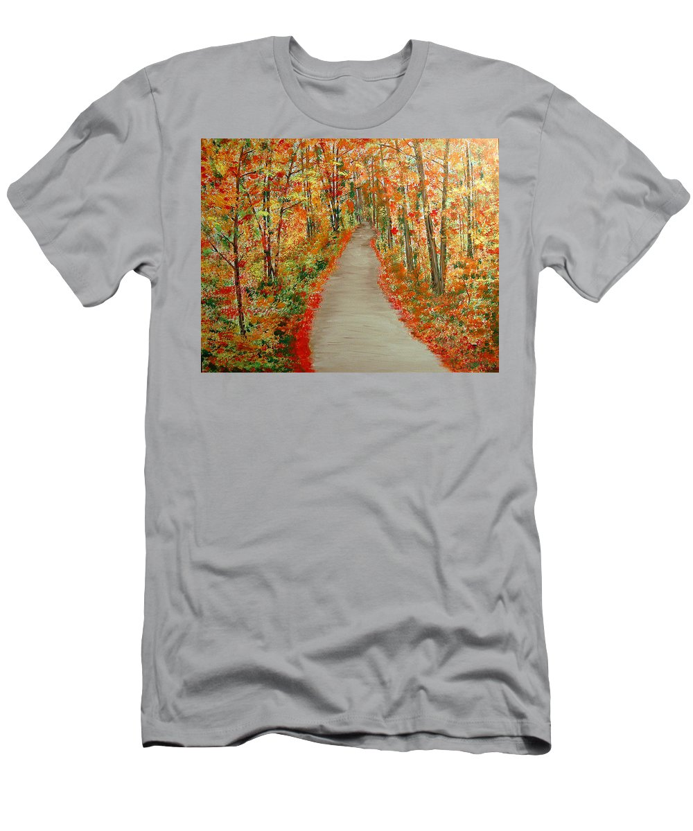 Landscape - Nature T-Shirt featuring the painting Autumn's moment by Marco Morales