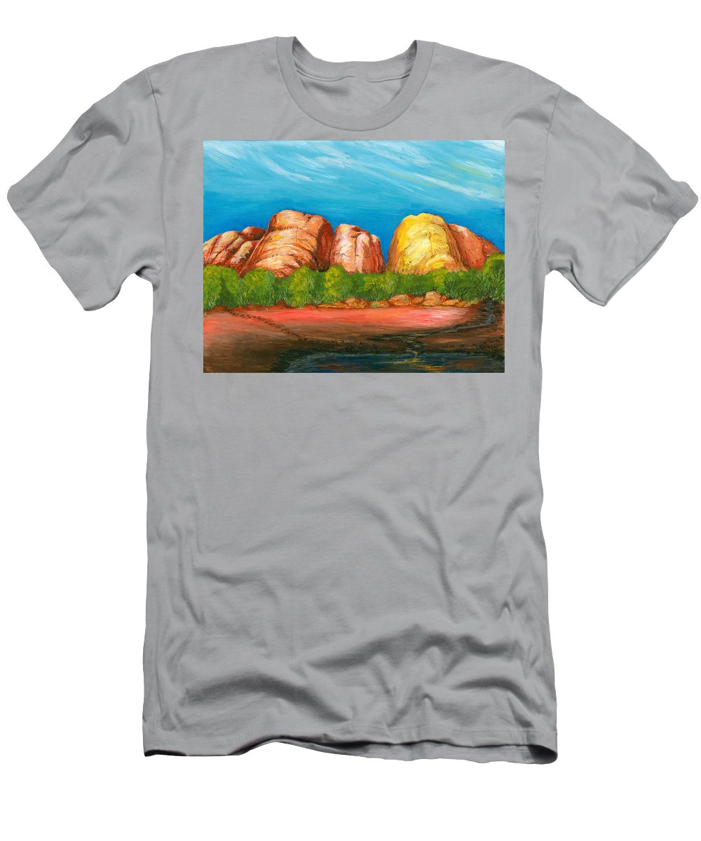 Landscape Men's T-Shirt (Athletic Fit) featuring the painting Ayers Rock End by Carlene Salazar