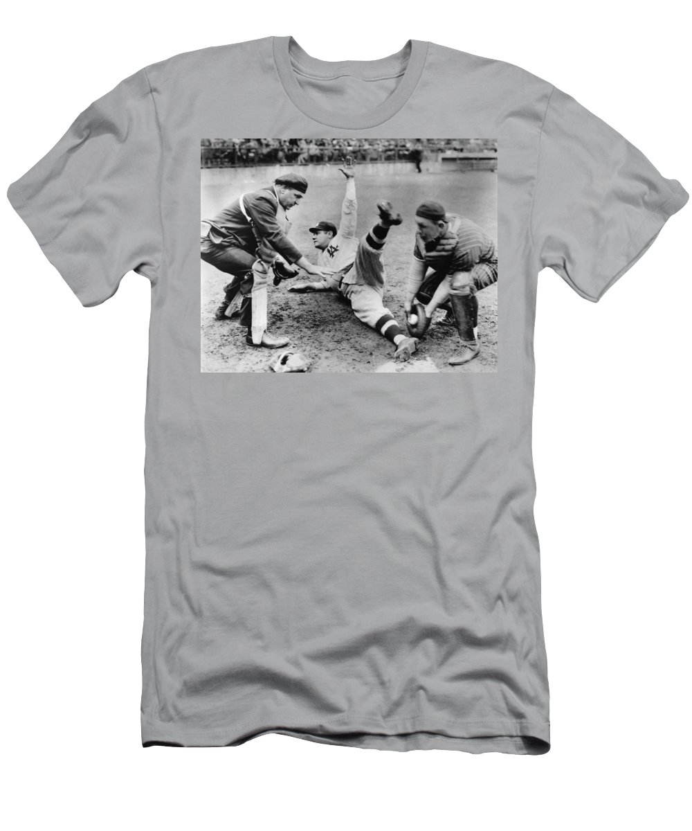 1920's T-Shirt featuring the photograph Babe Ruth Slides Home by Underwood Archives