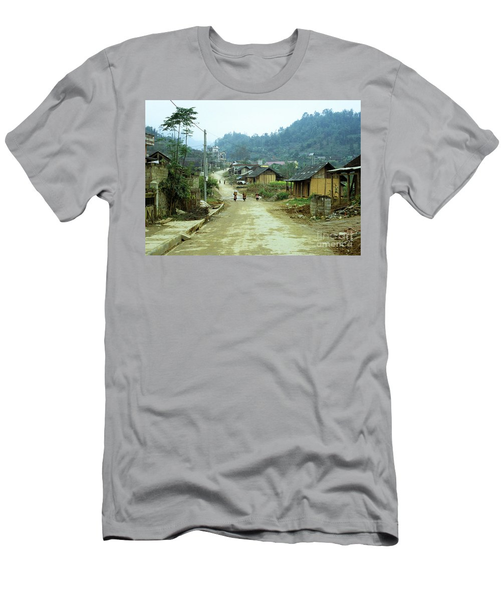 Vietnam Men's T-Shirt (Athletic Fit) featuring the photograph Bac Ha Town by Rick Piper Photography