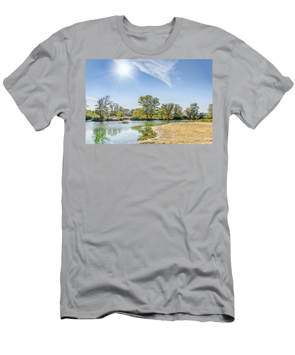 Dnieper Men's T-Shirt (Athletic Fit) featuring the photograph Backlighting River Landscape by Alain De Maximy