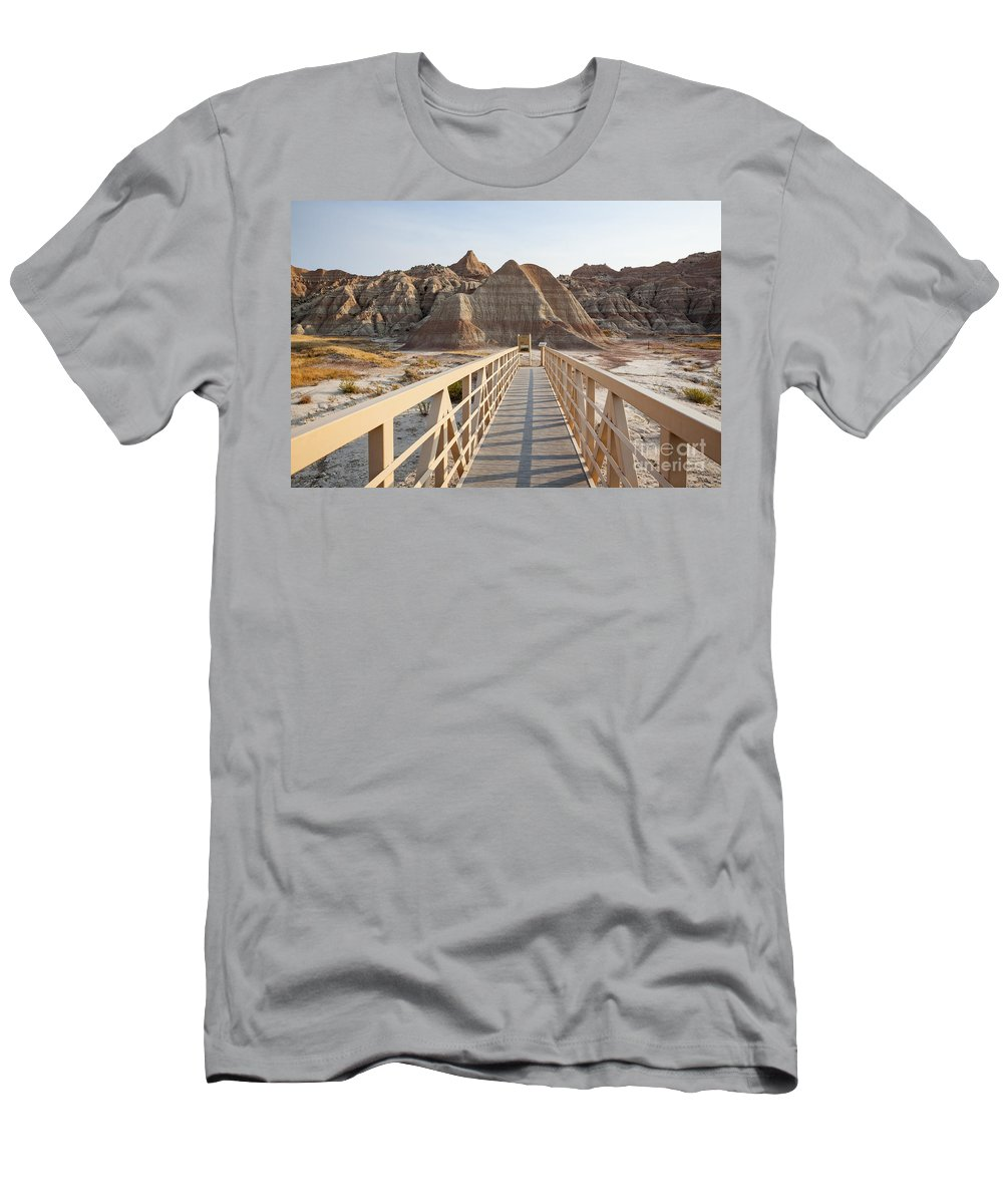 America Men's T-Shirt (Athletic Fit) featuring the photograph Badlands Walkway by Bryan Mullennix
