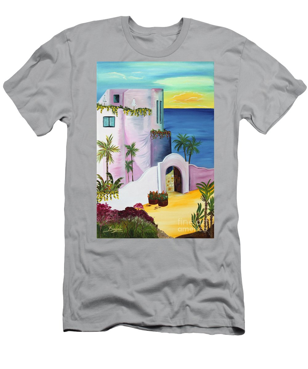 Landscape Men's T-Shirt (Athletic Fit) featuring the painting Bajas Edge by Christine Baeza