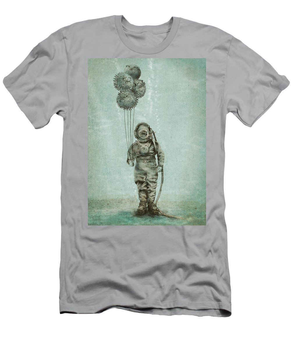 Ocean T-Shirt featuring the drawing Balloon Fish by Eric Fan