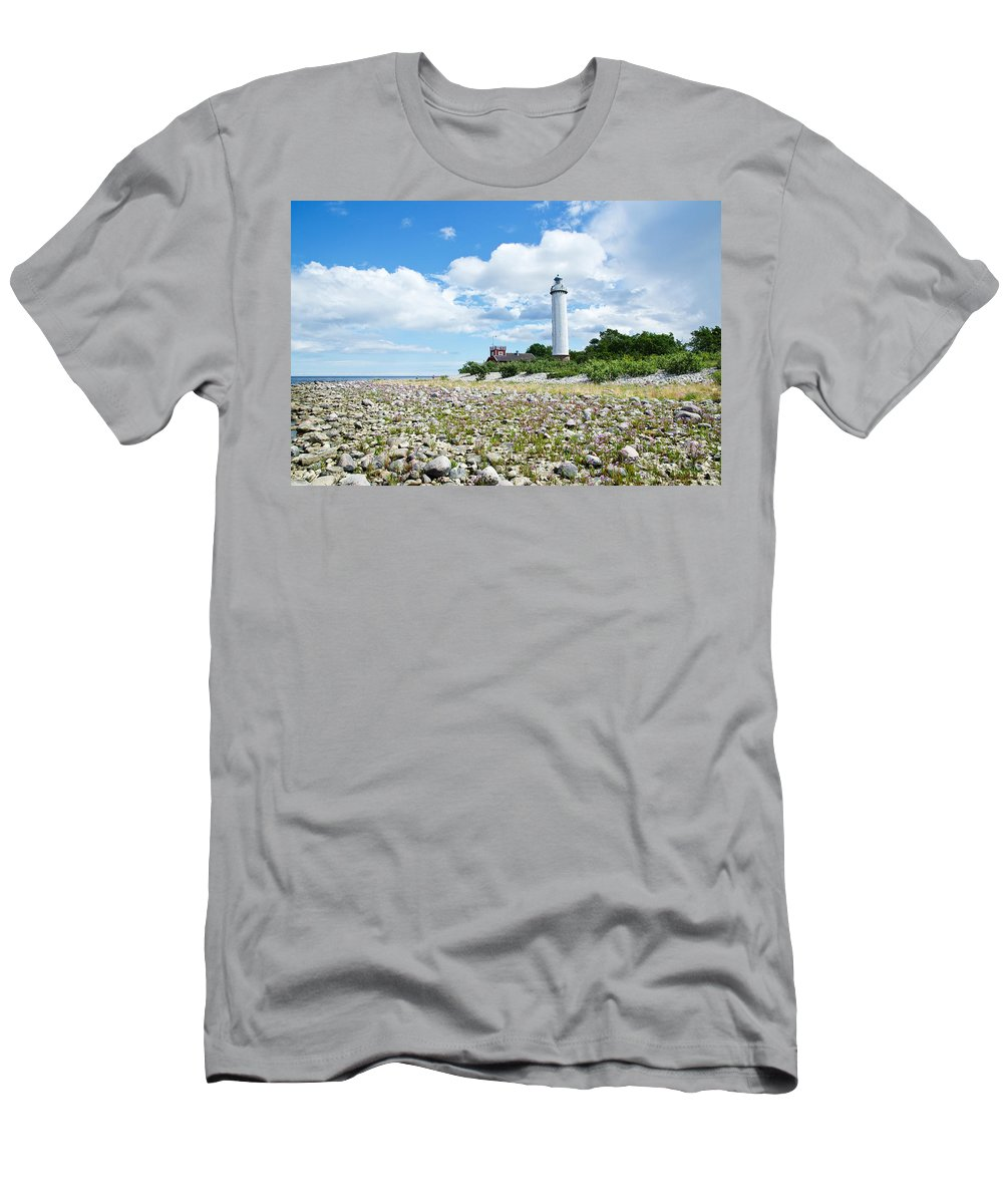 Architecture Men's T-Shirt (Athletic Fit) featuring the photograph Baltic Sea Lighthouse by Kennerth and Birgitta Kullman