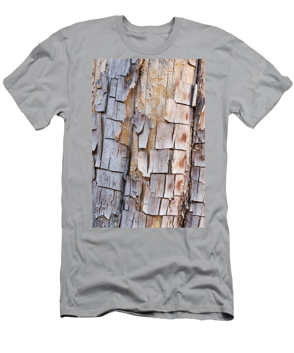 Arizona Men's T-Shirt (Athletic Fit) featuring the photograph Bark On A Tree In The Desert In Sedona by Tom Bol