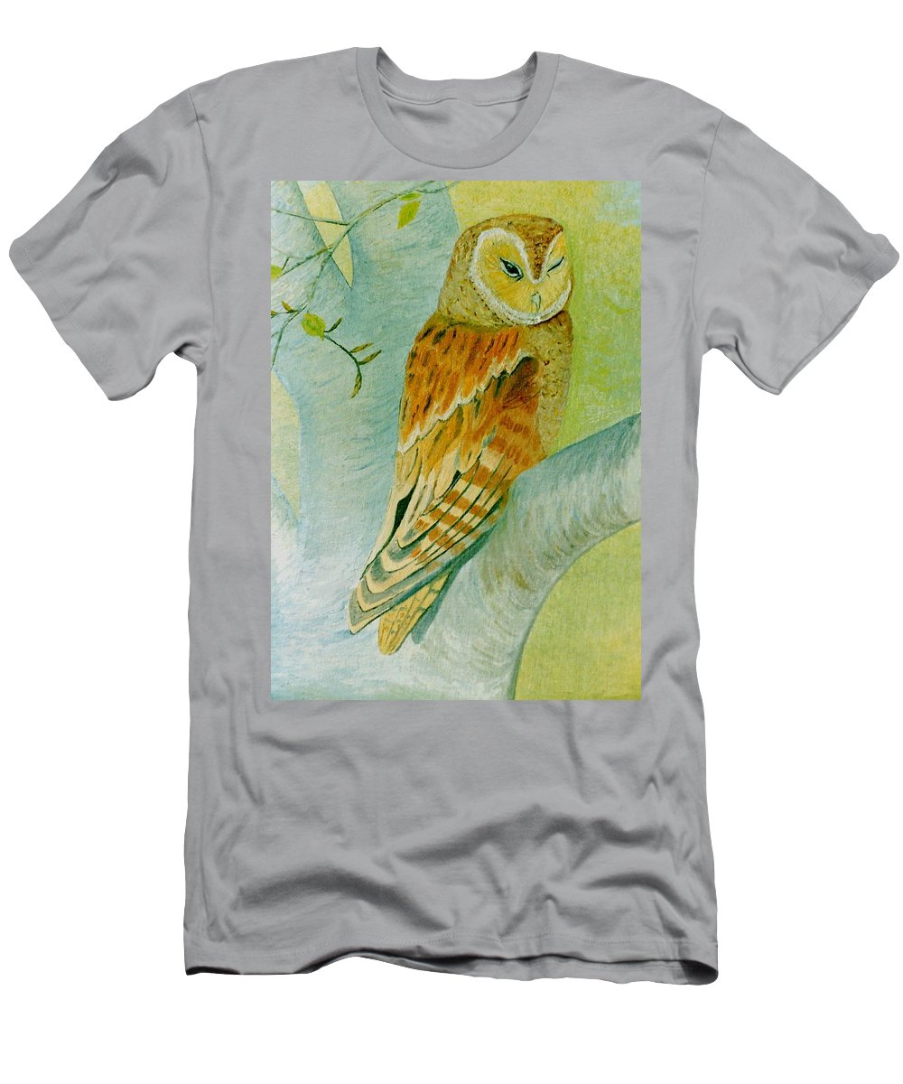 Owl Men's T-Shirt (Athletic Fit) featuring the painting Barn Owl by Olive Denyer
