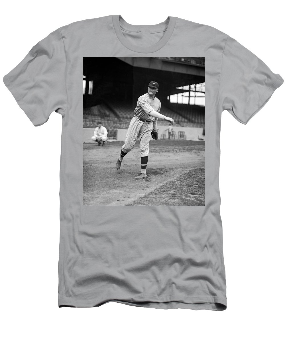 1920's T-Shirt featuring the photograph Baseball Star Walter Johnson by Underwood Archives