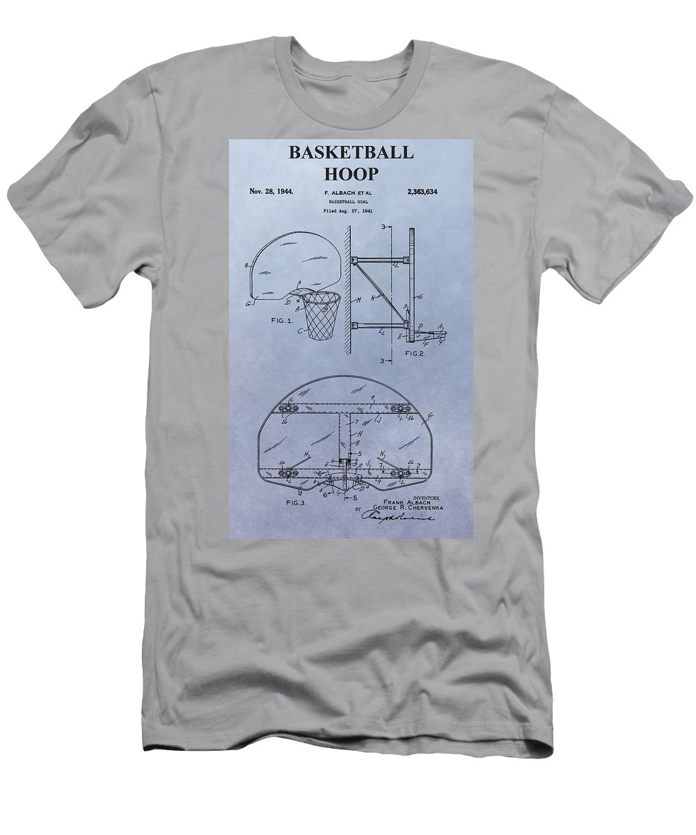 Basketball Hoop Patent Men's T-Shirt (Athletic Fit) featuring the digital art Basketball Hoop by Dan Sproul