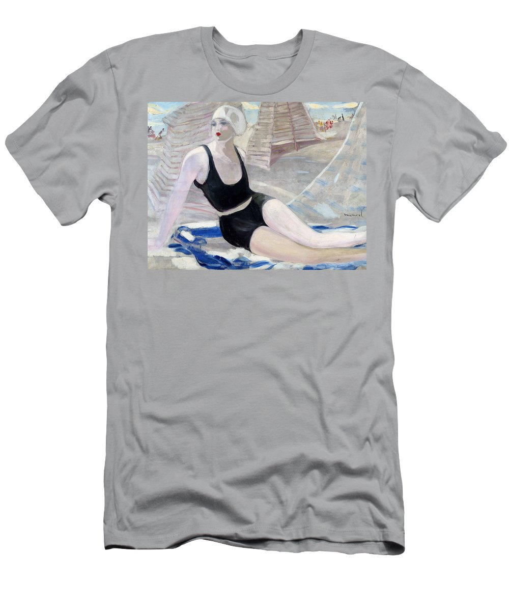Jacqueline Men's T-Shirt (Athletic Fit) featuring the painting Bather In A Black Swimsuit by Jacqueline Marval