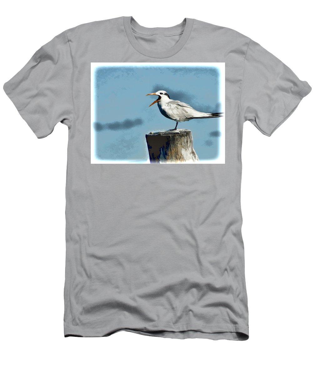 Beach Bird Men's T-Shirt (Athletic Fit) featuring the photograph Beach Bird by Jon Berghoff