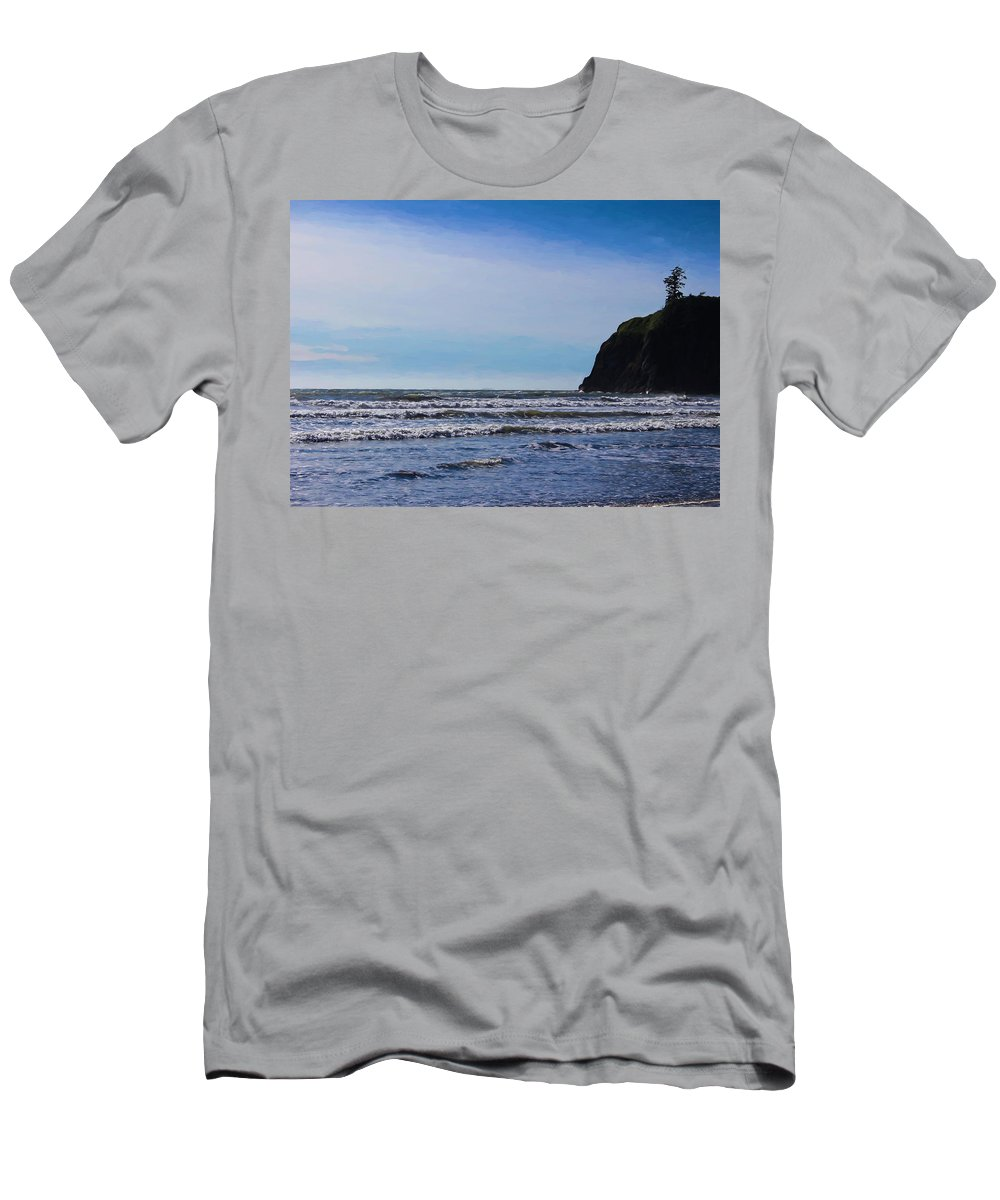 Oregon Coast Men's T-Shirt (Athletic Fit) featuring the digital art Beach On The Oregon Coast by Cathy Anderson