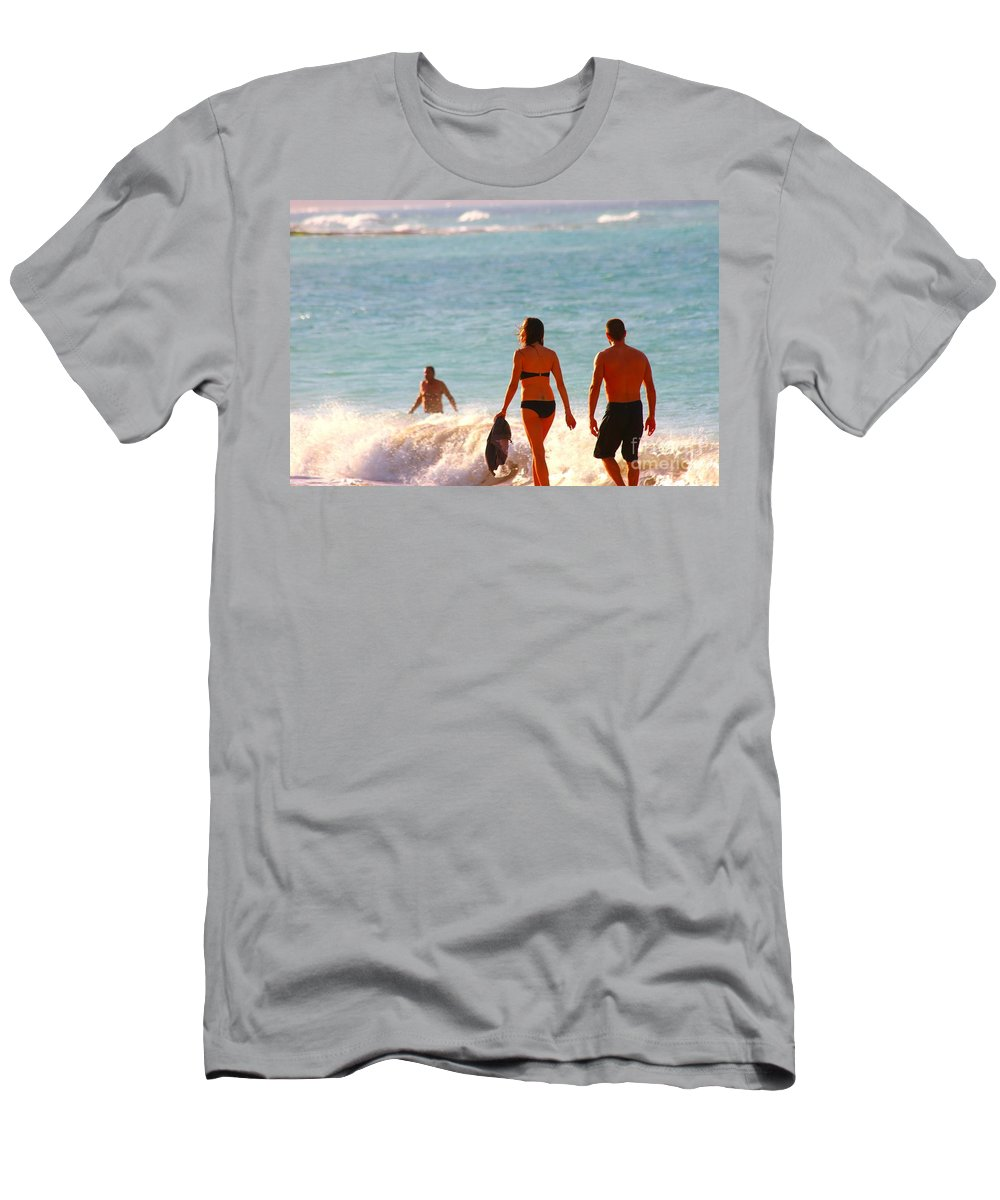 Ocean Men's T-Shirt (Athletic Fit) featuring the photograph Beach Walkers by Pharaoh Martin