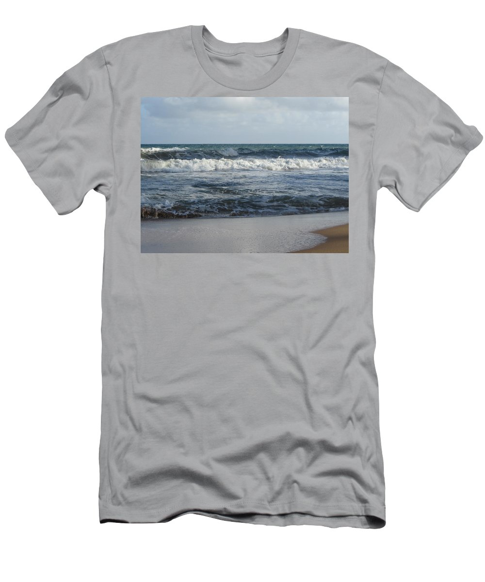 Beach Men's T-Shirt (Athletic Fit) featuring the photograph Beach Waves 2 by Anita Burgermeister
