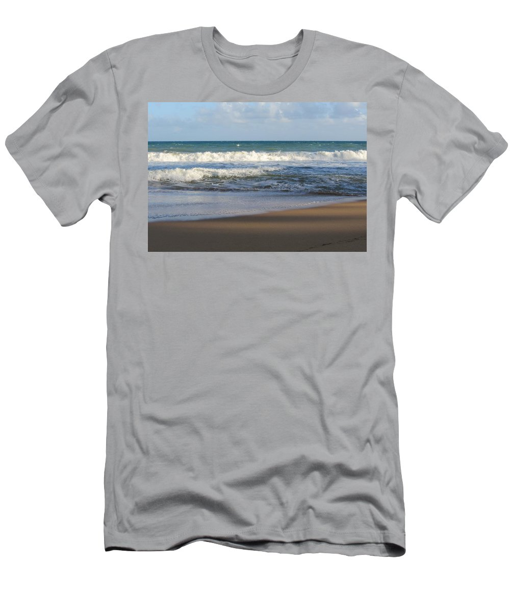 Beach Men's T-Shirt (Athletic Fit) featuring the photograph Beach Waves 3 by Anita Burgermeister