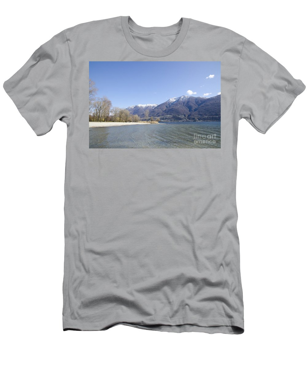 Beach Men's T-Shirt (Athletic Fit) featuring the photograph Beach With Mountain by Mats Silvan