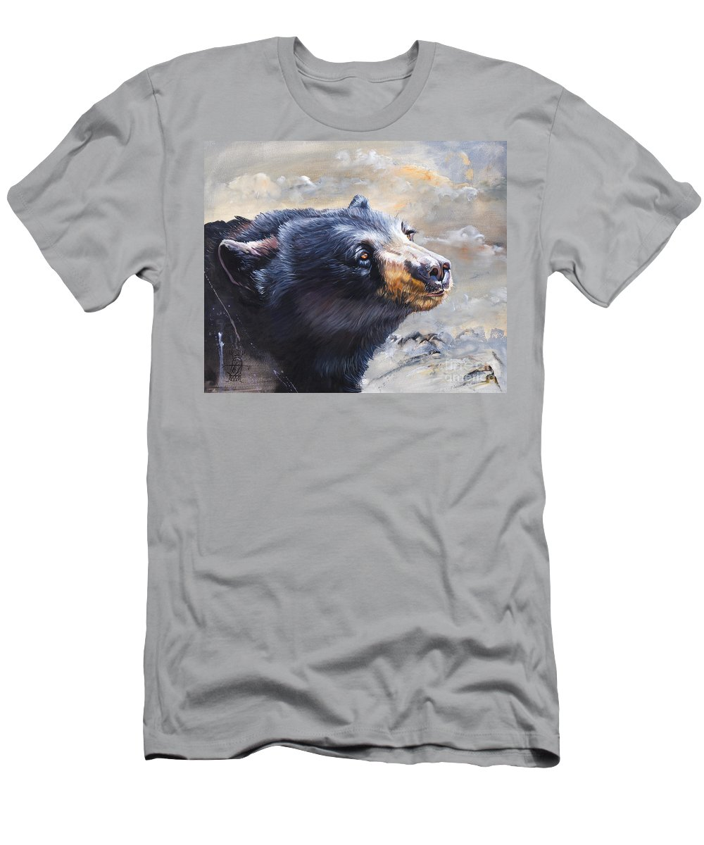 Bear Men's T-Shirt (Athletic Fit) featuring the painting Four Winds Bear by J W Baker